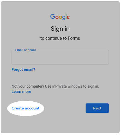 Click Create Account at the Sign In prompt.